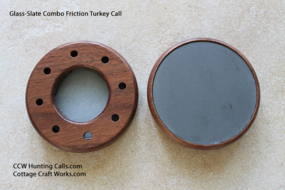 Custom Walnut Slate over Glass  D Sided Friction Pot Turkey Call w// Striker